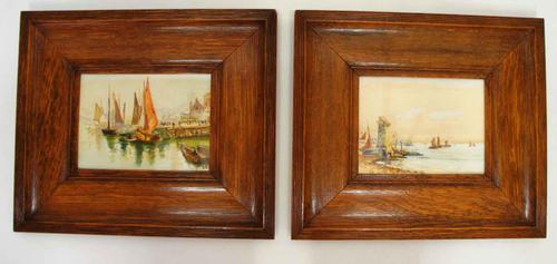 Pair of Early 20th Century Watercolours, Coastal Scene with Boats F&G, inits (1 of 10)