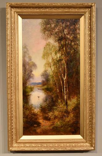 """Oil Painting Pair by Ernest Charles Walbourn """"A Tranquil River Scene"""" (1 of 5)"""