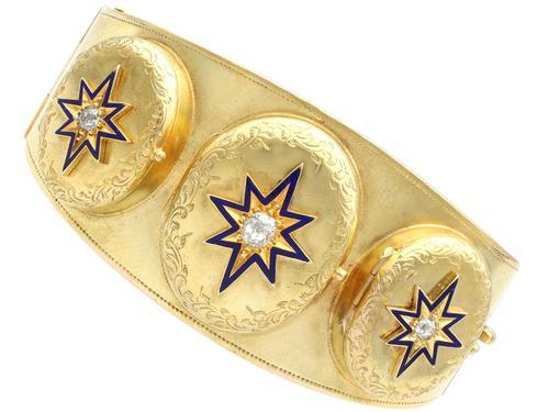 0.49ct Diamond & 18ct Yellow Gold Triple-locket Bangle - Antique c.1880 (1 of 12)