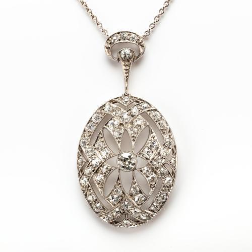 Art Deco 1.40 Carat Diamond Pendant c.1930 (1 of 6)