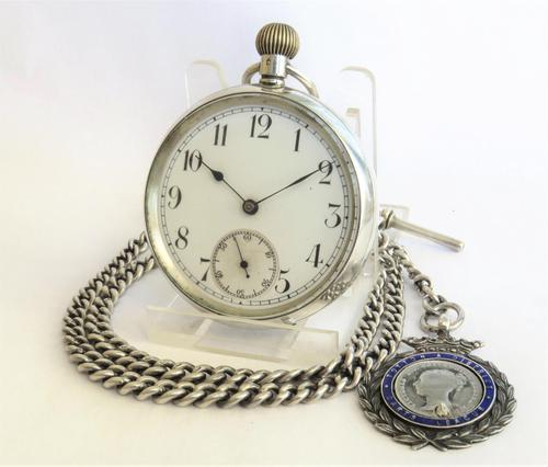 Antique Swiss silver pocket watch and chain (1 of 5)