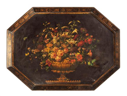 Late 18th Century Painted Octagonal Papier-Mâché Tray (1 of 4)