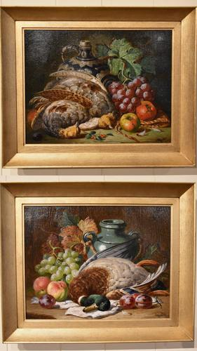 """Oil Painting Pair by Charles Thomas Bale """"Fruit and Game Larder Scenes"""" (1 of 10)"""