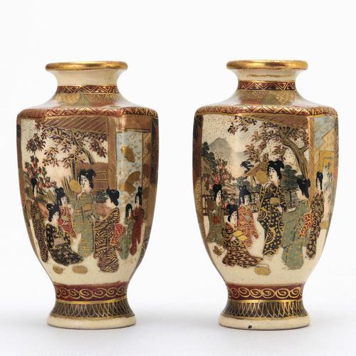 Pair of Small Meiji Period Japanese Satsuma Vases Signed Hododa c1890 (1 of 10)