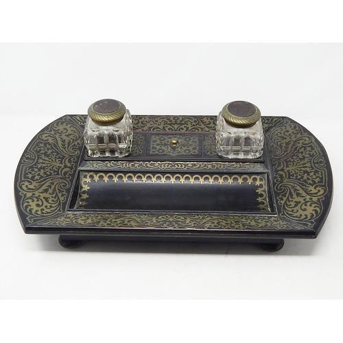 19th Century Brass Inlaid Twin Inkwell Stand c.1850 (1 of 7)