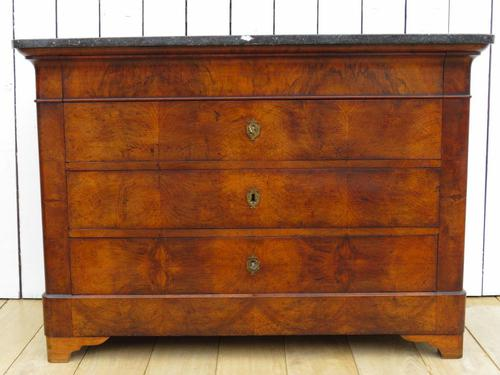 Antique Louis Philippe Walnut Marble Top Chest of Drawers (1 of 11)