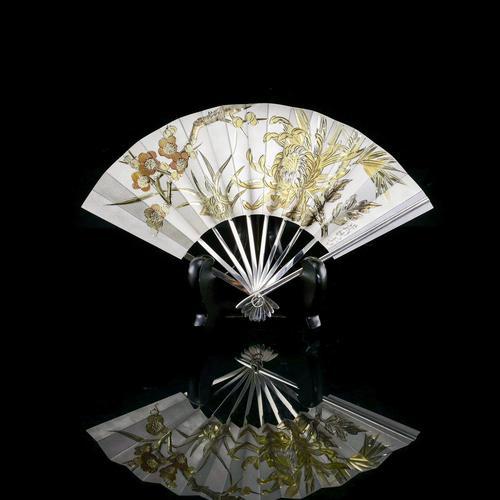 Vintage Japanese Solid Silver Fan Sensu/o-gi c.1960 (1 of 14)