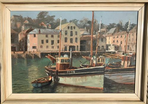 Attractive Oil Painting 'Mevagissey Harbour Cornwal' by Nancy Bailey c.1970 (1 of 2)