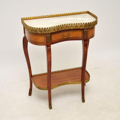 Antique French Marble Top Kidney Side Table (1 of 11)