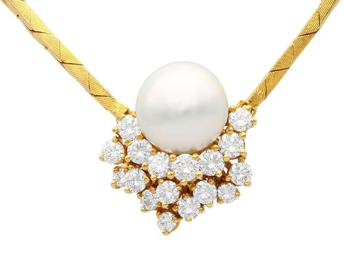 Cultured Pearl & 1.75ct Diamond, 14ct Yellow Gold Necklace - Vintage c.1960 (1 of 9)