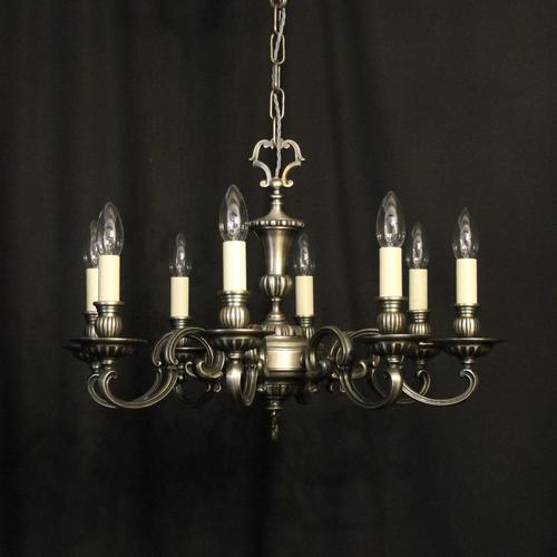 French Brass Silver Plated 8 Light Chandelier (1 of 10)