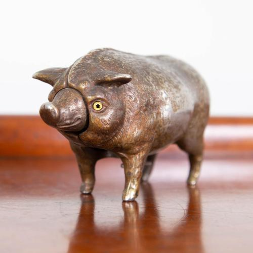 Rare Clockwork Butchers Shop Counter Pig with Bell (1 of 11)