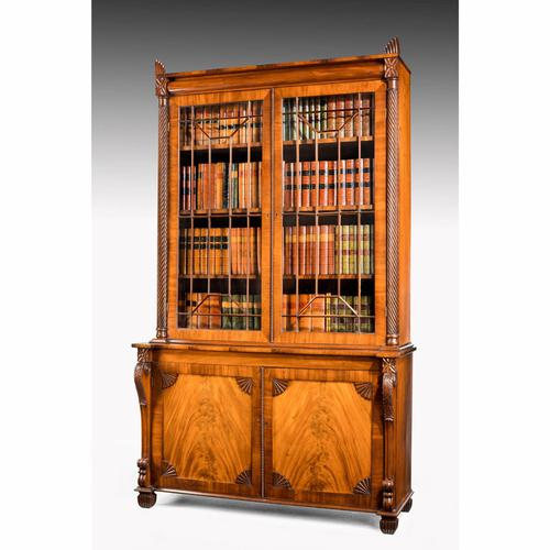 Regency Period Mahogany Bookcase with Matching Flared Panels to the Bottom Doors (1 of 6)