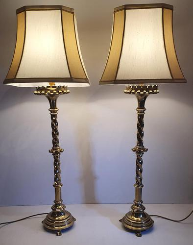 Pair of 19th Century Gothic Brass Candlesticks Converted to Table Lamps (1 of 4)