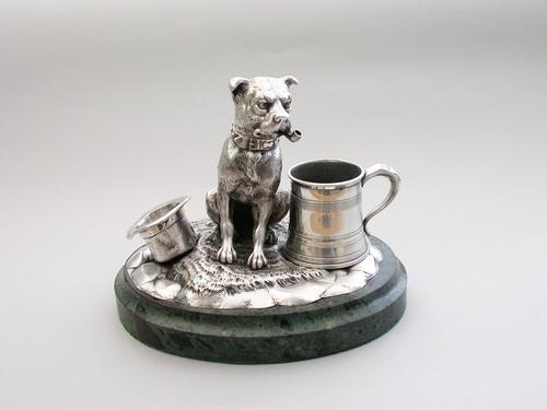 Victorian Novelty Silver Figural Terrier Dog Table Lighter,  by James Barclay Hennell, London, 1881 (1 of 17)