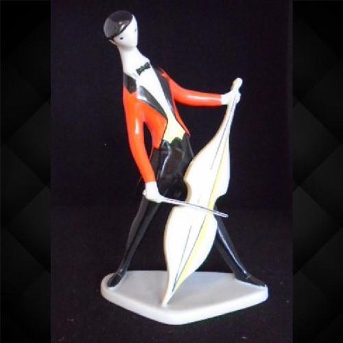 Porcelain Figure Cello Player by Torok Janos (1 of 7)