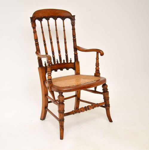 Antique Victorian Carved & Cane Seated Armchair (1 of 11)