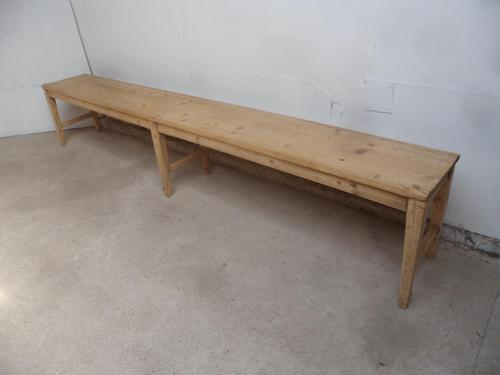 Victorian Antique Pine 6 Seater Kitchen Table / Hall Bench to Wax or Paint (1 of 8)