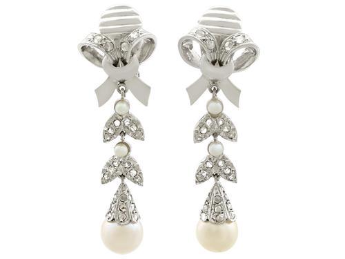 0.54ct Diamond & Pearl, 18ct White Gold Drop Earrings - Vintage c.1960 (1 of 9)