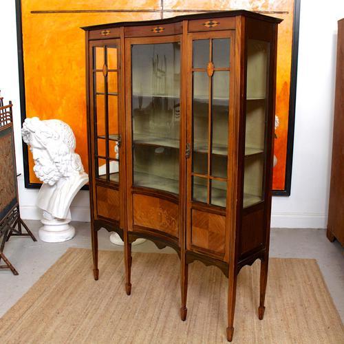 Edwardian Glazed Bookcase Inlaid Mahogany (1 of 9)