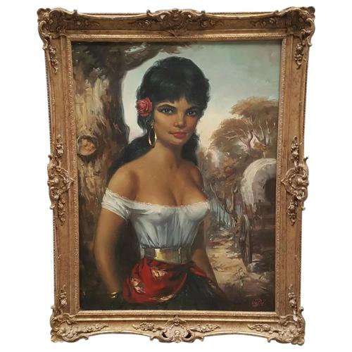 Large Decorative Portrait Oil Painting Gypsy Girl Wearing Gold Earring (1 of 12)