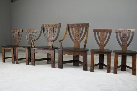6 Arts & Crafts Carved Oak Chairs (1 of 12)
