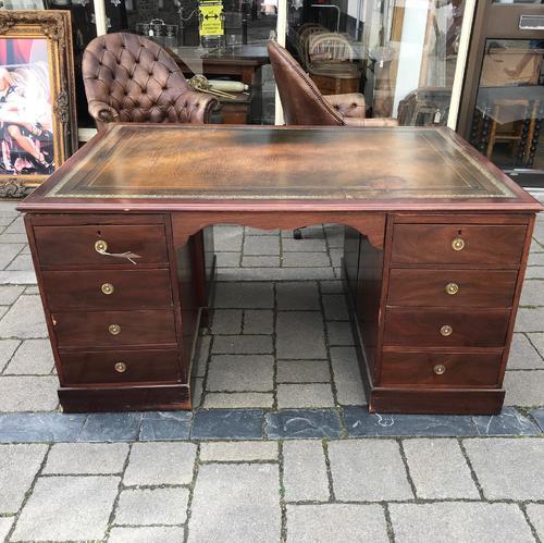 Large Mahogany Victorian Partners Desk (1 of 9)