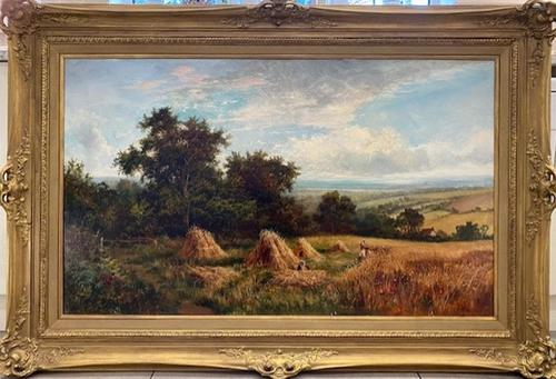 'Harvest Time' A Victorian oil painting by John J Wilson (1 of 1)