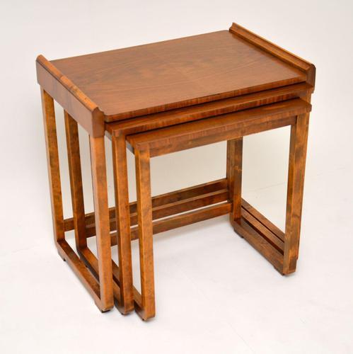 Original Art Deco Figured Walnut Nest of Tables (1 of 11)