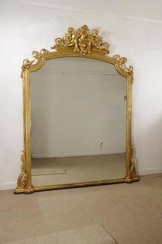 19th Century Gilt Overmantle Mirror with Putto Cresting (1 of 12)