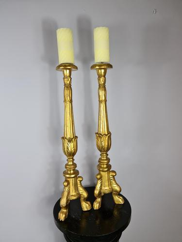 Handsome Pair of 18th Century Giltwood Alter Sticks (1 of 4)