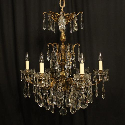 Italian Gilt Bronze & Crystal 6 Light Antique Chandelier (1 of 10)