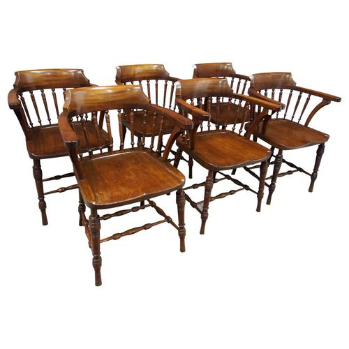 Set of 6 Red Walnut Captain's Chairs by W. Walker & Son (1 of 11)