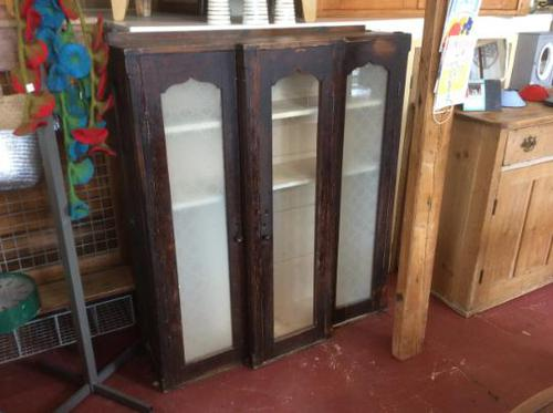 Antique Stained Pine Cupboard with Etched Glass Door Panels (1 of 8)