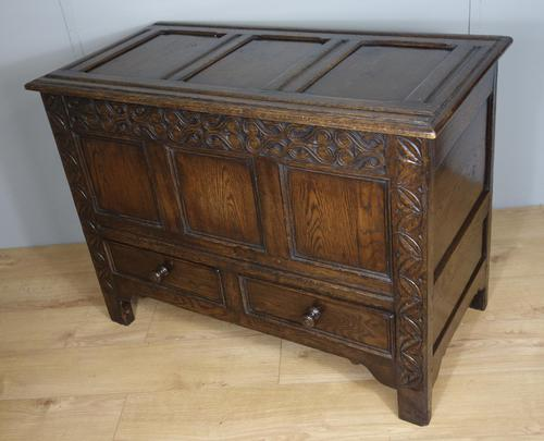 Carved Oak Two Drawer Coffer (1 of 7)