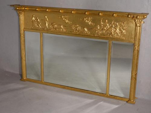 A Very Good Regency Period 3 Section Giltwood Mirror (1 of 4)