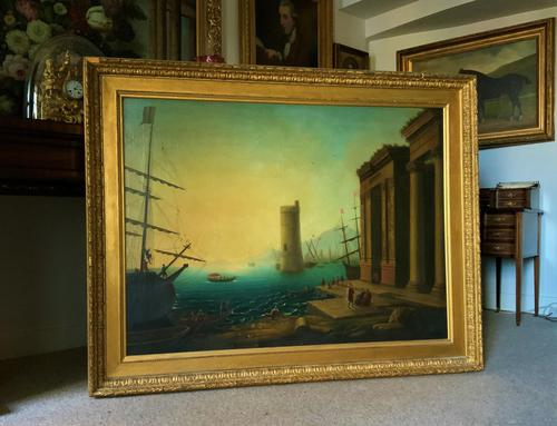 After Claude Lorrain Huge Superb 19th Century Venice Seascape Oil Painting (1 of 22)