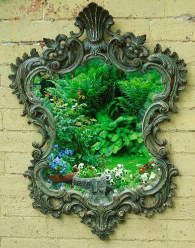 Solid Oak Hand Painted French Mirror (1 of 7)