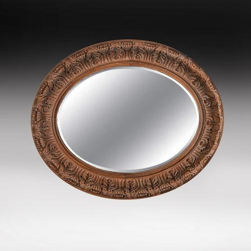 Large 19th Century Swedish Oval Carved Oak Mirror by A Lundmark (1 of 9)