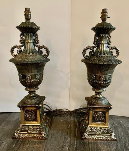 Pair of Gilt Large Decorative Lamps (1 of 4)