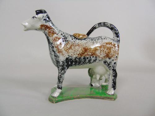 Early Staffordshire Sponge Painted Prattware Cow Creamer (1 of 8)
