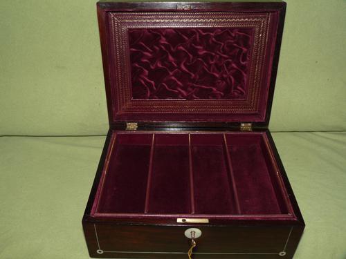 Unisex Inlaid Rosewood Jewellery Box + Tray. c1850 (1 of 13)