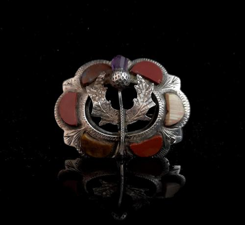 Antique Scottish silver and agate brooch, Amethyst thistle (1 of 10)