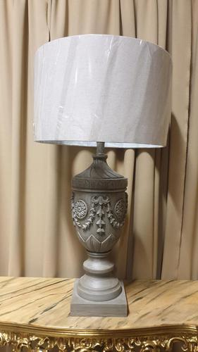Large Carved Wooden Table Lamp (1 of 7)