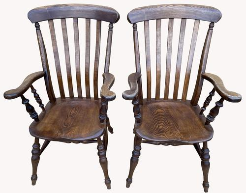 Lovely Pair of Solid Elm Farm Armchairs (1 of 5)