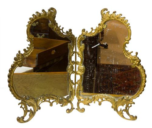 French Gilt Bronze Rococo Style Table Mirror (1 of 6)