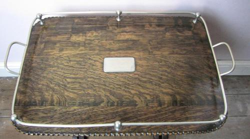 Antique Galleried Oak Serving Tray (1 of 6)
