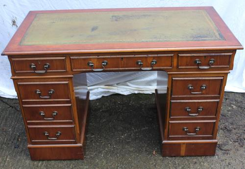 1960's Pedestal Desk with Green Leather Inset (1 of 4)