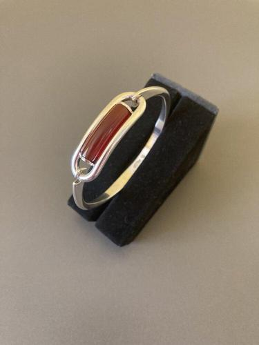 Danish Silver Bangle with Red Agate. By N E From (1 of 5)