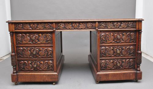 19th Century Carved Oak Partners Desk (1 of 17)